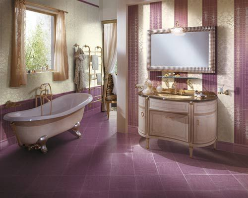 purple bathroom,claw foot bathtub,antique vanities,silver wall  mirror,texture ceramic