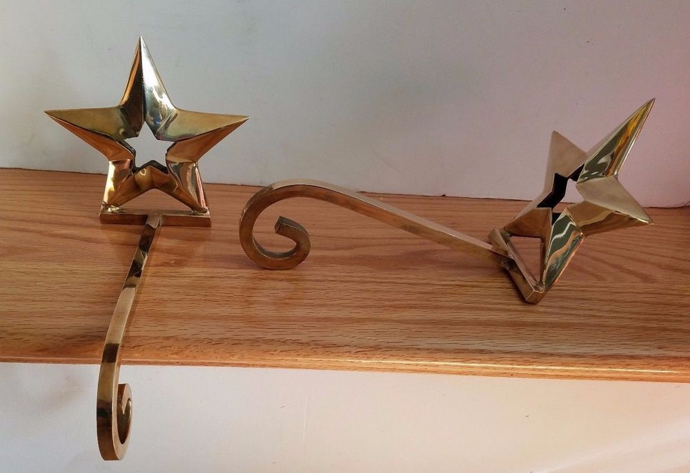 Superb 2 Brass Stocking Hanger Christmas Star Fireplace Mantle Hook Home Interior And Landscaping Pimpapssignezvosmurscom