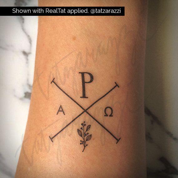 Chi Rho Temp Tattoo Temporary Tat Christian Symbol Hipster Etsy In 2020 Minimalist Tattoo Chi Rho Tattoo Temp Tattoo
