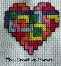 Cross-Stitched Tetris Heart (Geek Coasters part one) from thecreativepirate.blogspot.com