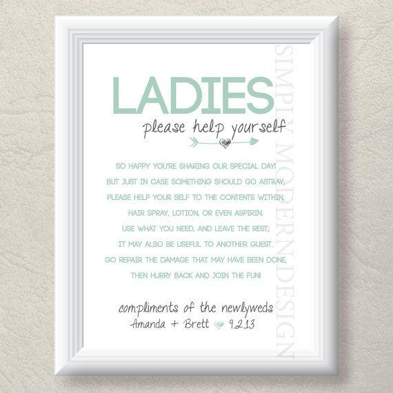 bathroom basket sign, wedding bathroom sign, guest bathroom sign