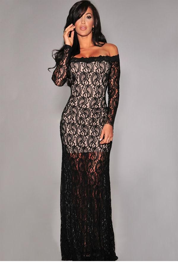 Long lace overlay dress