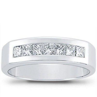 100 Ct Mens Princess Cut Diamond Wedding Band Ring In Platinum Size 16 Check