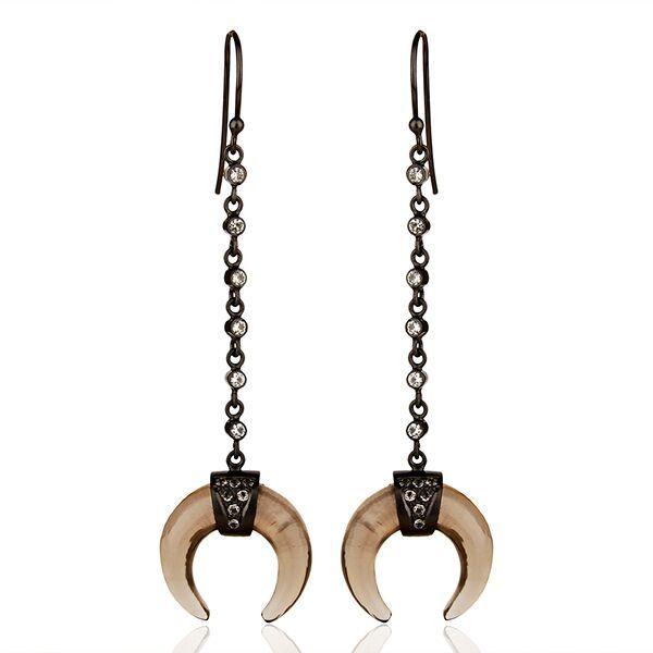 ab529cefded5 Saylah   Vada Designer Smoky Topaz Crescent Moon Drop Earrings ...
