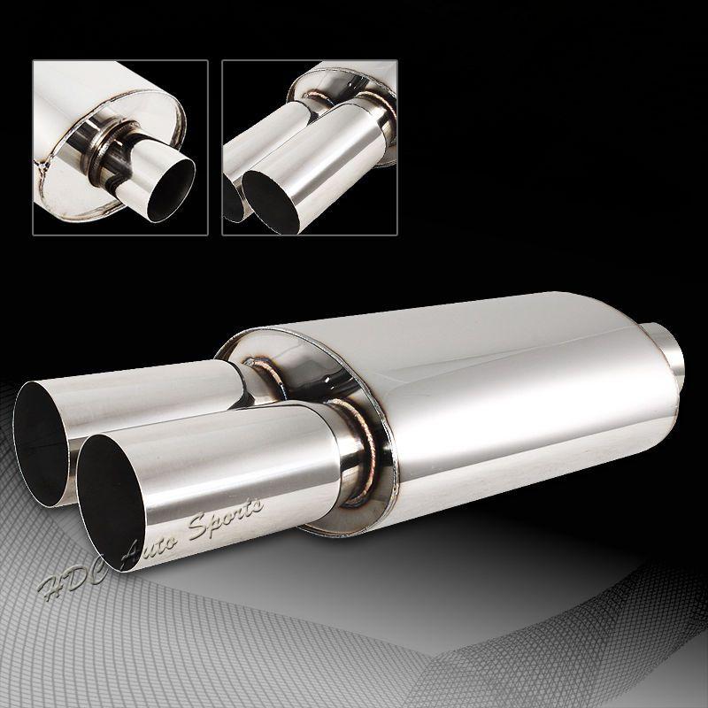 "4/"" Slant Tip 2.5/"" Inlet T-304 Stainless Exhaust Resonator Muffler Universal 5"