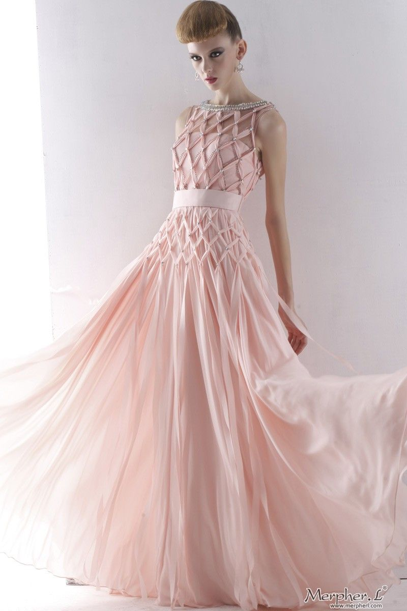 Round Neck Beaded Full Length Evening Prom Dress Formal Ball Gown ...