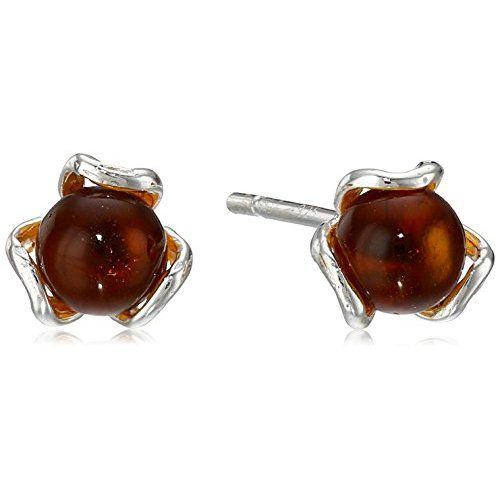 Sterling Silver Honey Amber Stud Earrings - $17.46