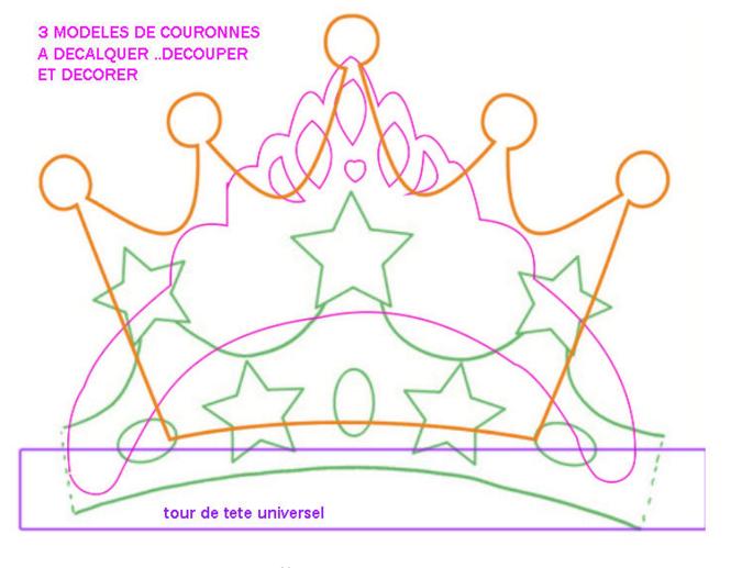 gabarit couronne : prince, princesse pour épiphanie et carnaval. a