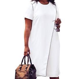 Jessica London Asymmetric A-Line Dress - Women's Plus Size Clothing 16 W White