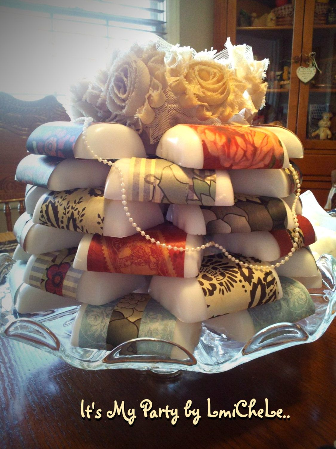 best homemade bridal shower gifts%0A Take the Cake    Dozen Handmade Bar Soap Favors with Flower Topper and  Lace Trim