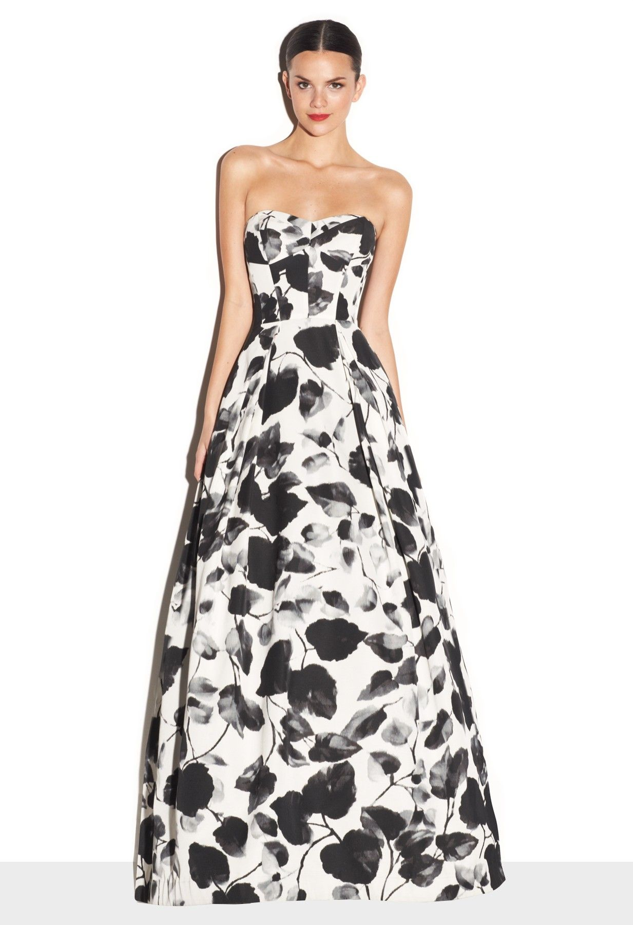 MILLY Ivy Printed Faille Ava Strapless Gown #white #pantonepretty ...