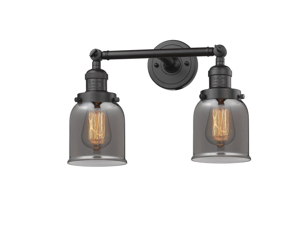 "Photo of Innovations Lighting 208-OB-G53 Oiled Rubbed Bronze / Smoked Small Bell 2 Light 15 ""Wide Bathroom Vanity Light with Multiple Shade Options"
