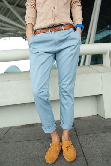 Korean-harem-pants-Slim-Thickening-Light-blue-Fashion-Casual-Men-s ...
