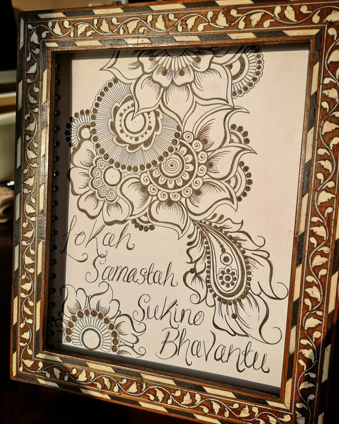 New work of art going up @yogastudioely  Lokah Samastah Sukino Bhavantu   May all beings everywhere be happy and free  Omm  #artwork #design #letsframeit #henna #inspired #creative #yogi #artist #yogastudioely #learning #growing #tryingmybest #enjoy #light #sunshine #grateful #forsomuch