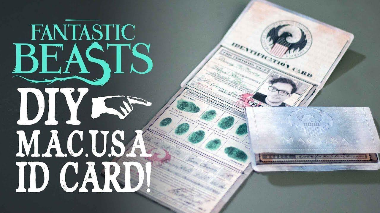 Macusa Id Card Fantastic Beasts Diy Fantastic Beasts Diy Book Cards