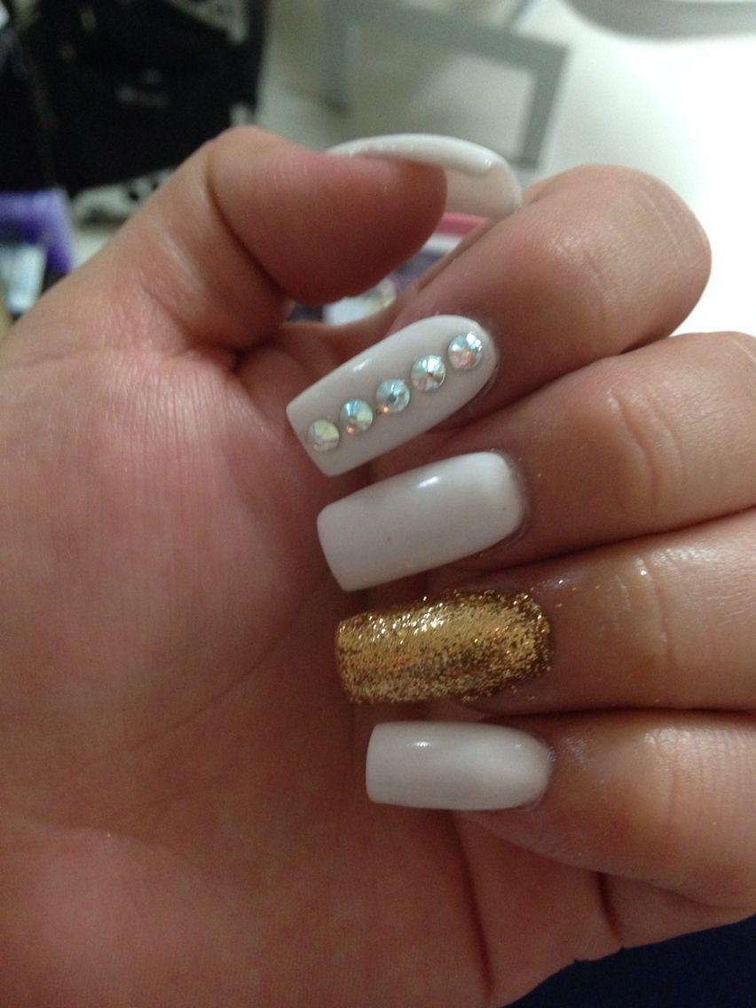 White Long Square Nails W Glitter Ring Finger And Swavorski