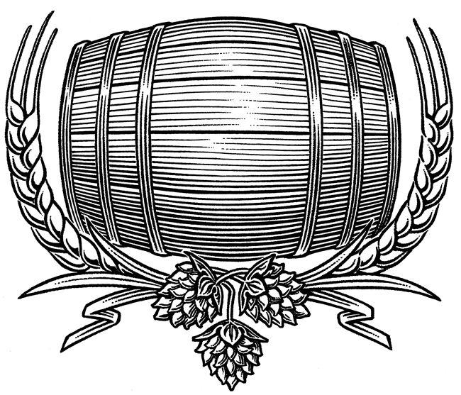 Beer Barrel Illustration Wine Bottle Sketch Beer Barrel Beer Painting Beer Art