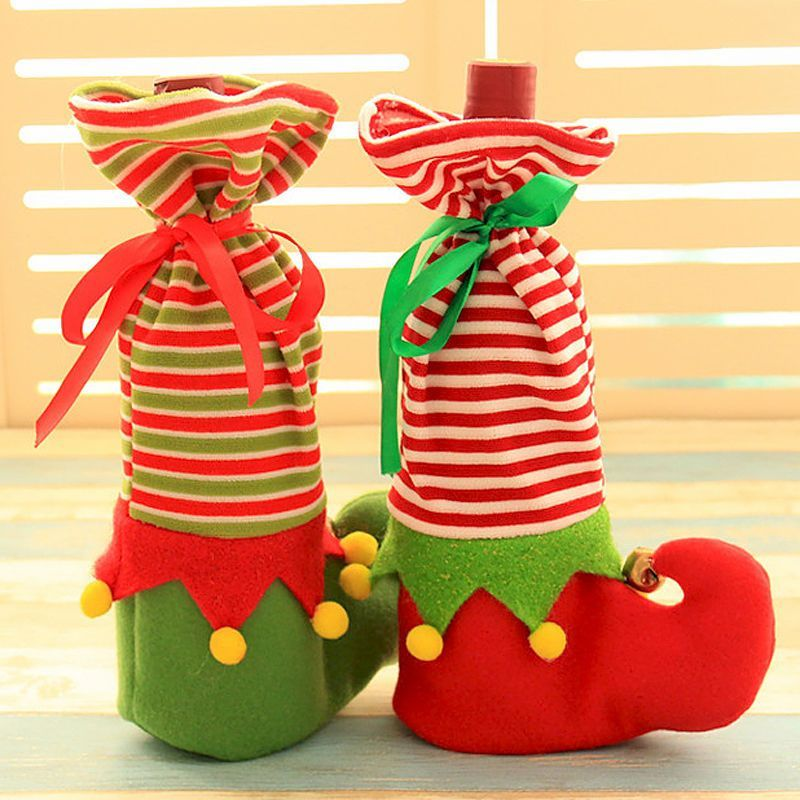 Sweet Christmas bell Wine Bags Elven boots Wine Bottle Set Table