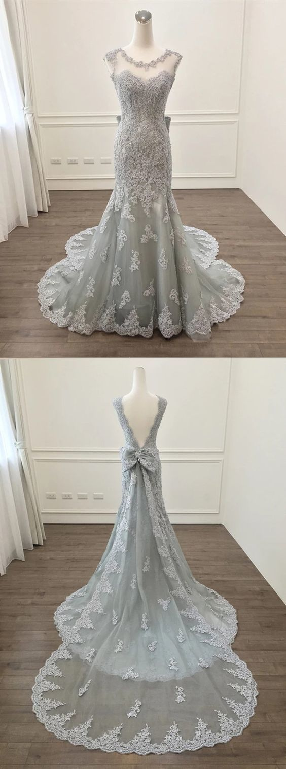 Elegant silver lace bow back mermaid evening gown dresses in
