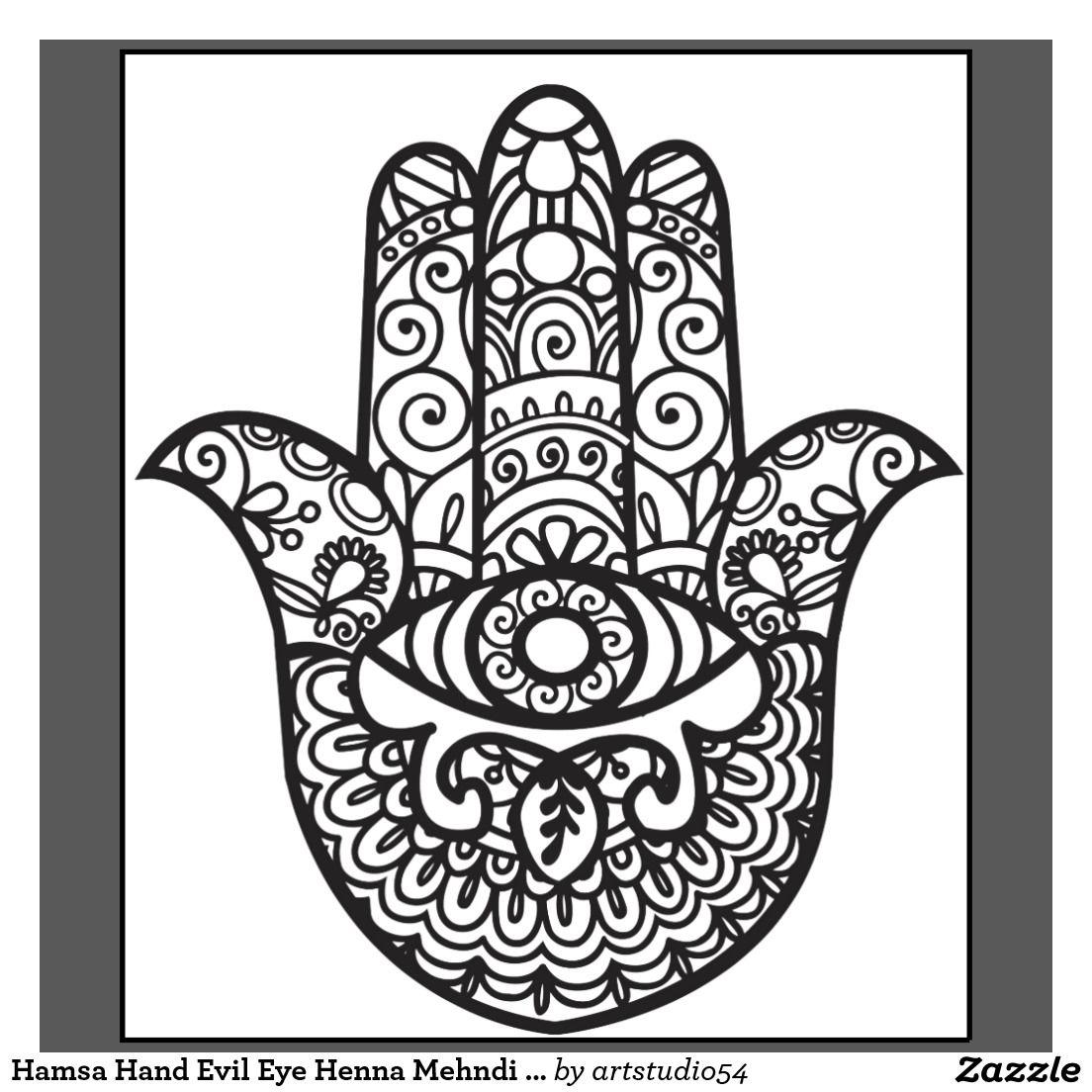 Henna Eye Tattoo: Hamsa Hand Evil Eye Henna Mehndi Style T-Shirt