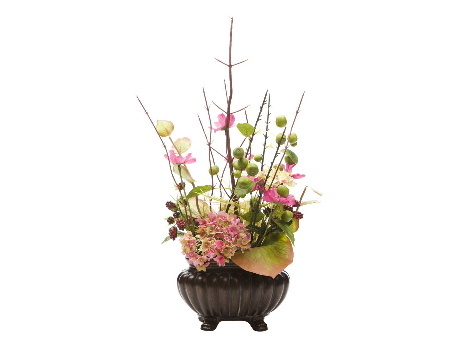 Hydrangeas Cosmos And Berry In Gold Pot This Beautiful Artificial