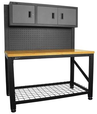 Homak Wood Top Workbench With 3 Door Cabinet, Steel