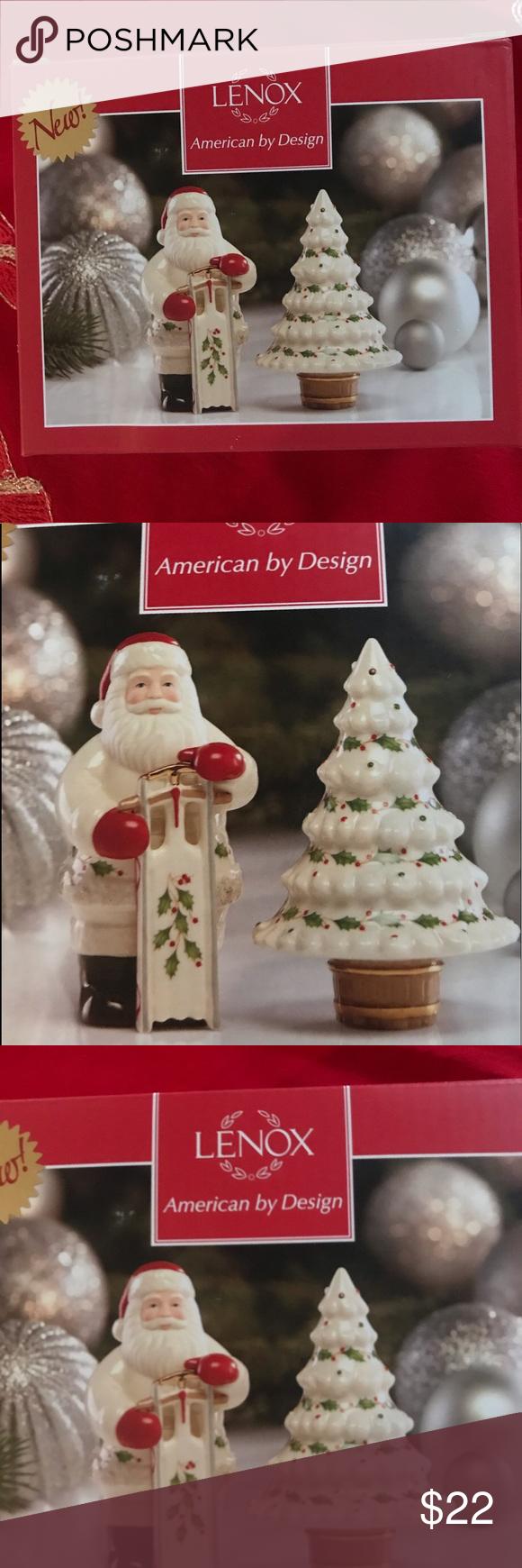 LENOX NEW in Box Santa & Tree Salt & Pepper Set Lenox Salt