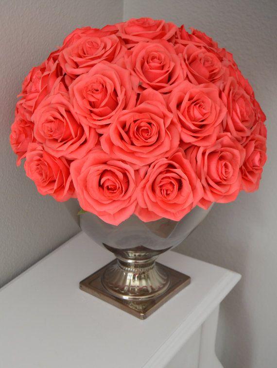 coral wedding centerpiece floral arrangement half flower ball rh pinterest com