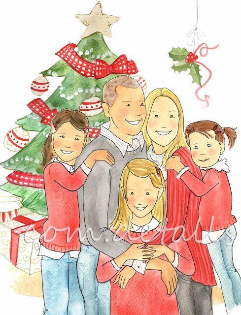 Como dibujar una familia en navidad