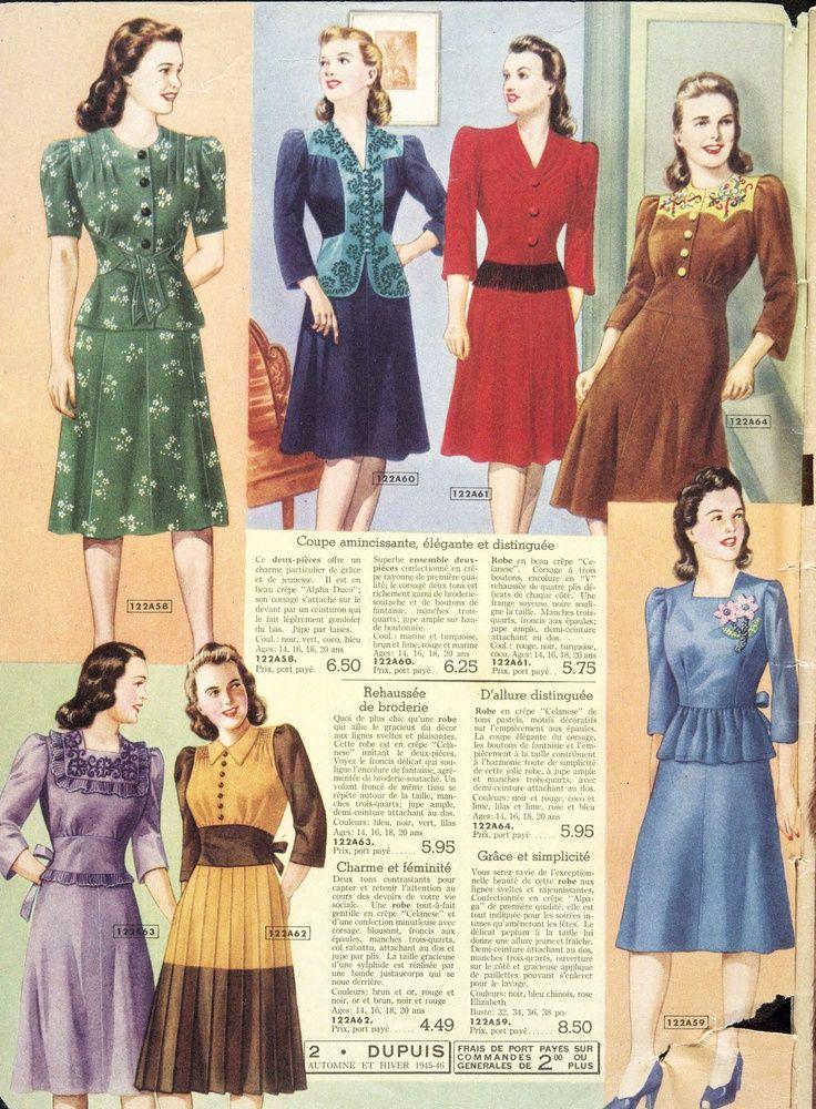 Dupuis Freres Catalogue 1945 46 Blue Middle Top I Love Vintage Clothing Pinterest