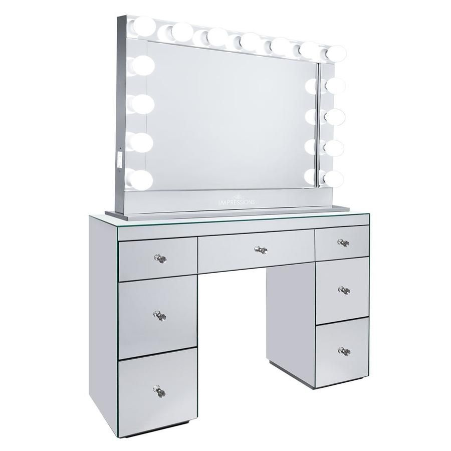 impressions vanity abby premium mirrored vanity table with hollywood rh pinterest com