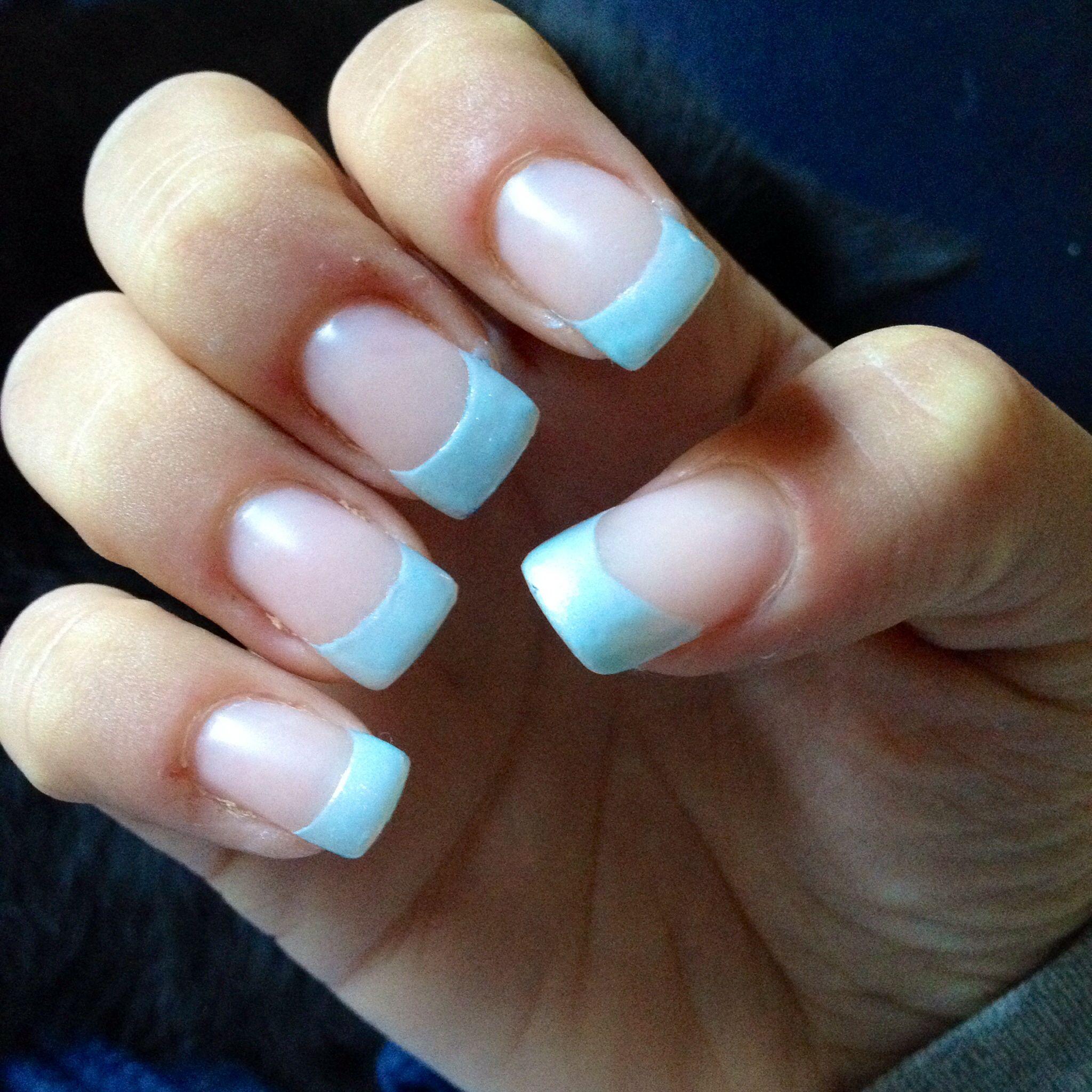 Simple Light Blue Acrylic Nail Tip Design Super Super Cute Acrylic Nail Tips Nail Tip Designs Blue Acrylic Nails
