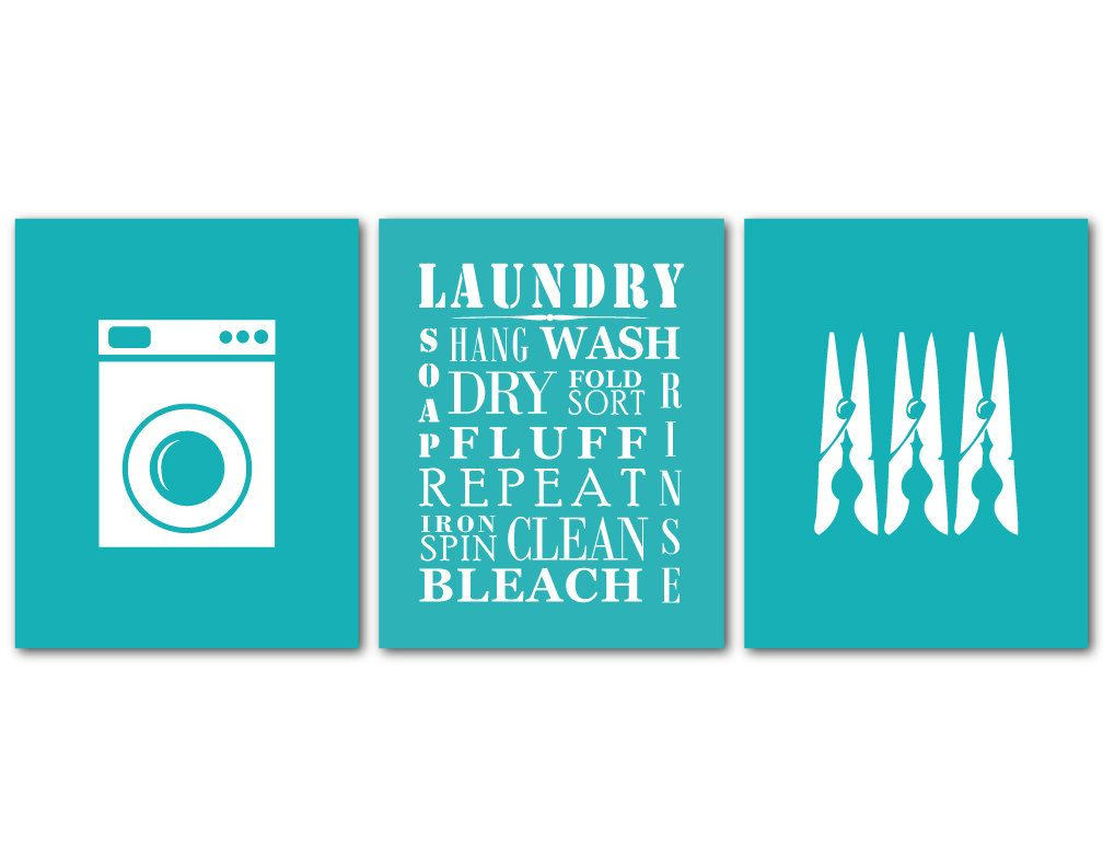 Laundry Room Art Wall Art Trio Laundry Symbols Wash Dry