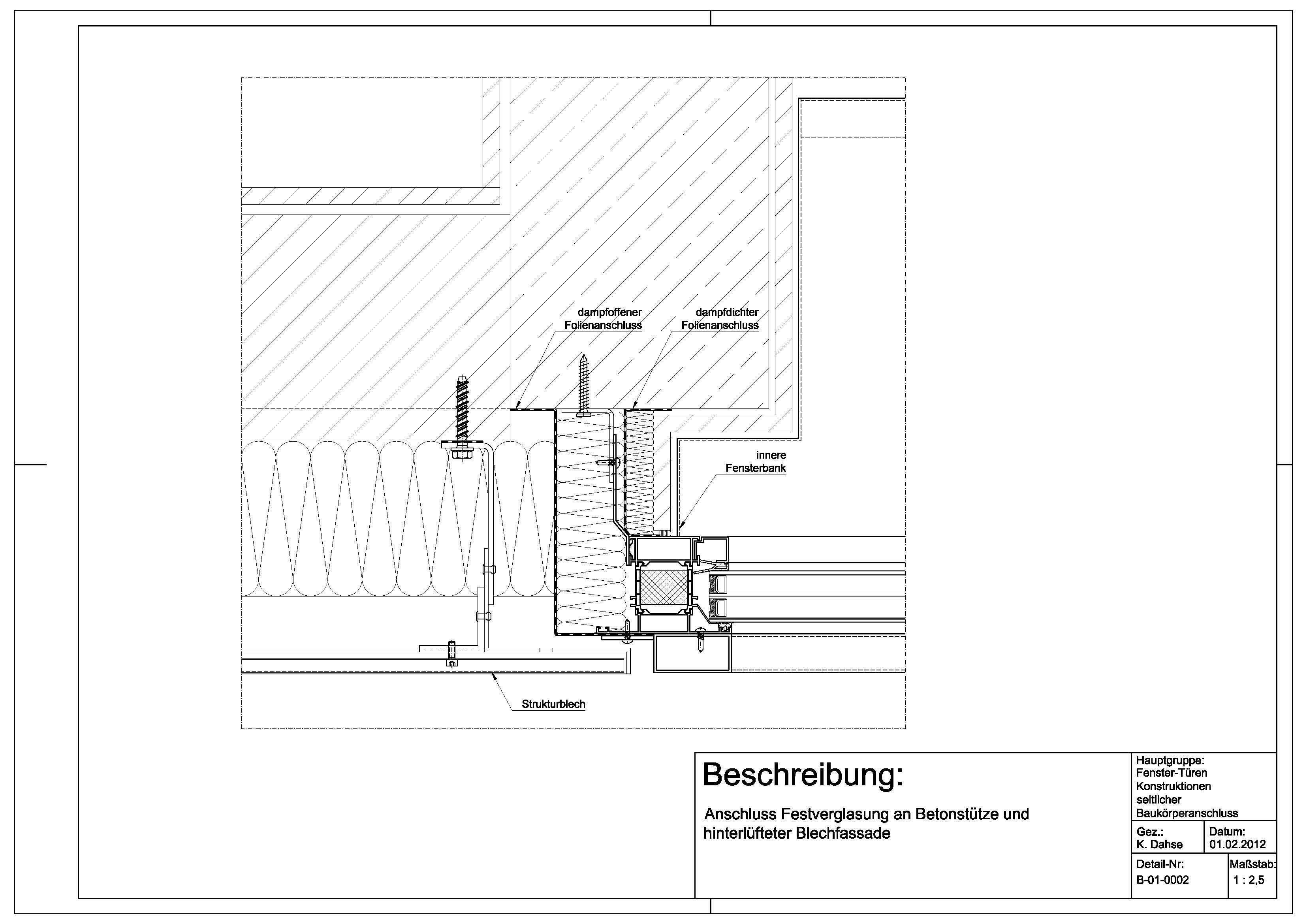 Kunststofffenster detail schnitt  B-01-0002 Anschluss Festverglasung an Betonstütze und ...