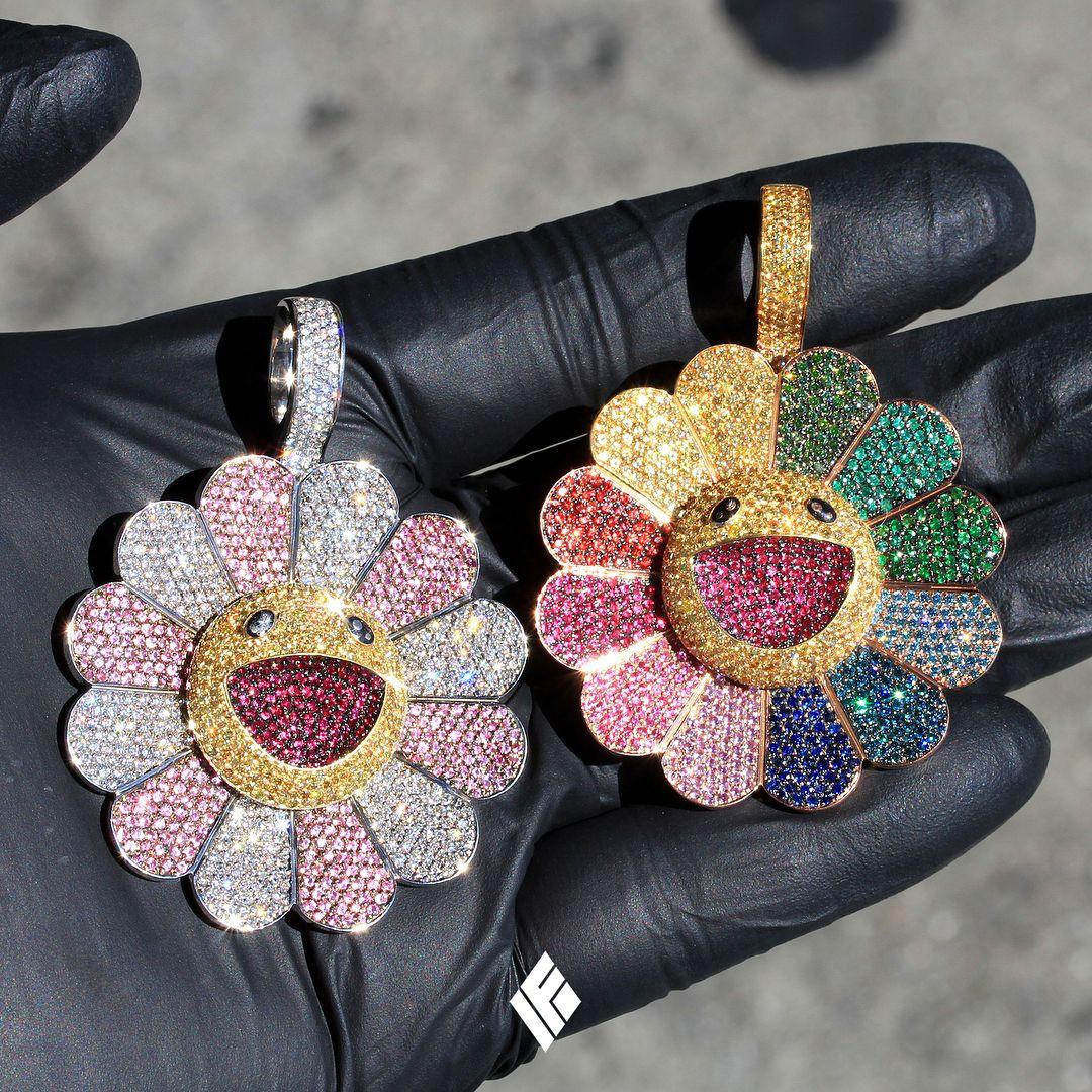 Custom 18K Rose Gold Pink/White Murakami Flower Pendant