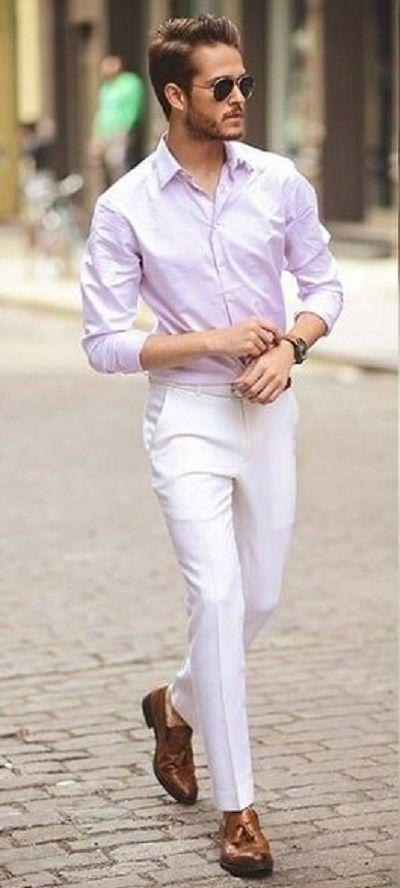 Semi Formal Pink Shirt White Dress Pants Brown Shoes Www Menswearstyle Co Uk Mens Fashion Chinos Mens Fashion Suits Formal Mens Fashion Classy