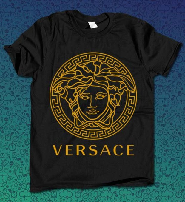 versace logo gold for T Shirt Mens and T Shirt Girls