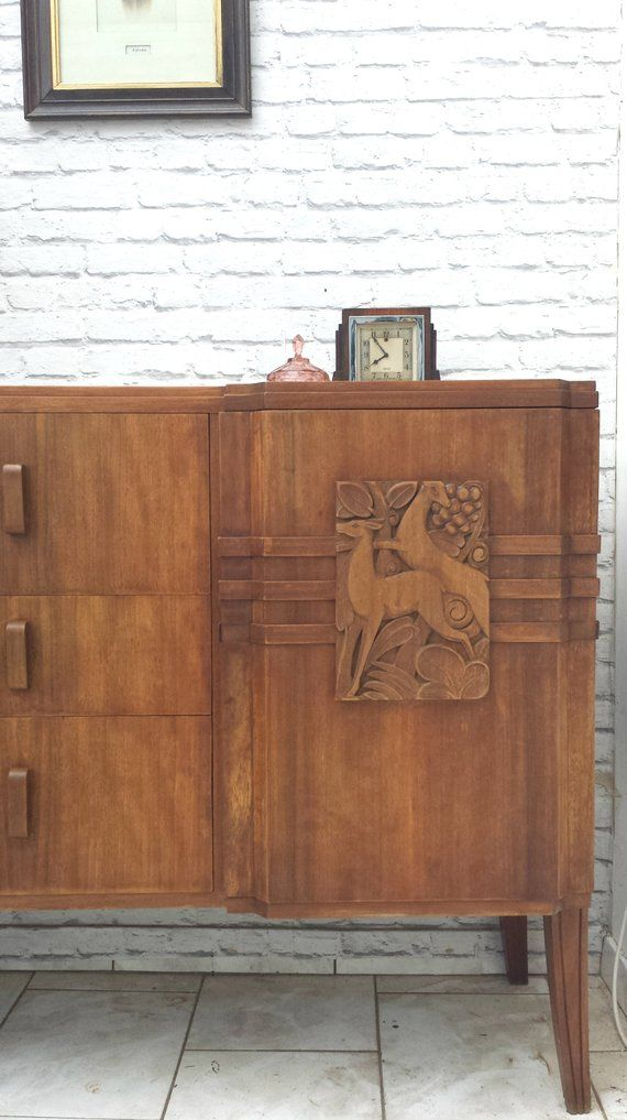 art deco 1930s cabinet sideboard cupboard buffet credenza carved rh pinterest com