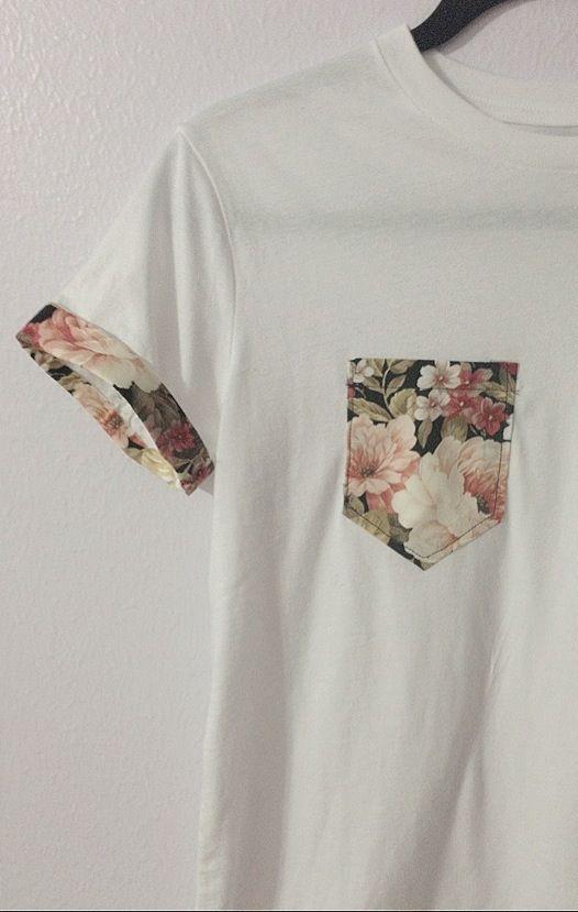 Décorez un tee-shirt uni en ajoutant une poche dans un motif amusant et une bande …  – DIY fashion