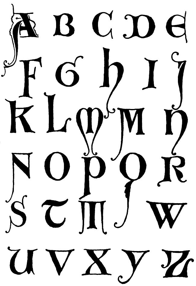 Gothic Letters A Z Initials Gothic And Fonts