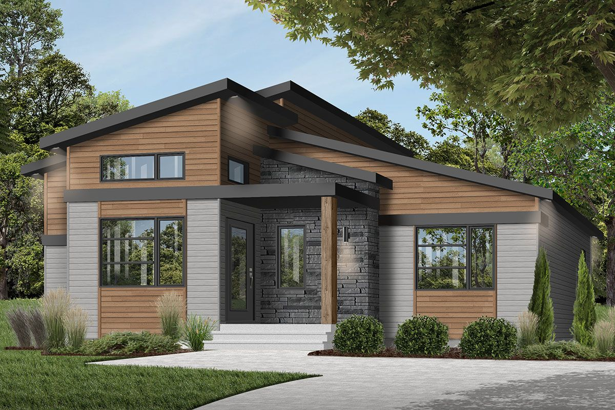 Plan 22550dr Modern Ranch House Plan With Cozy Footprint In 2021 Drummond House Plans Contemporary House Plans House Plans