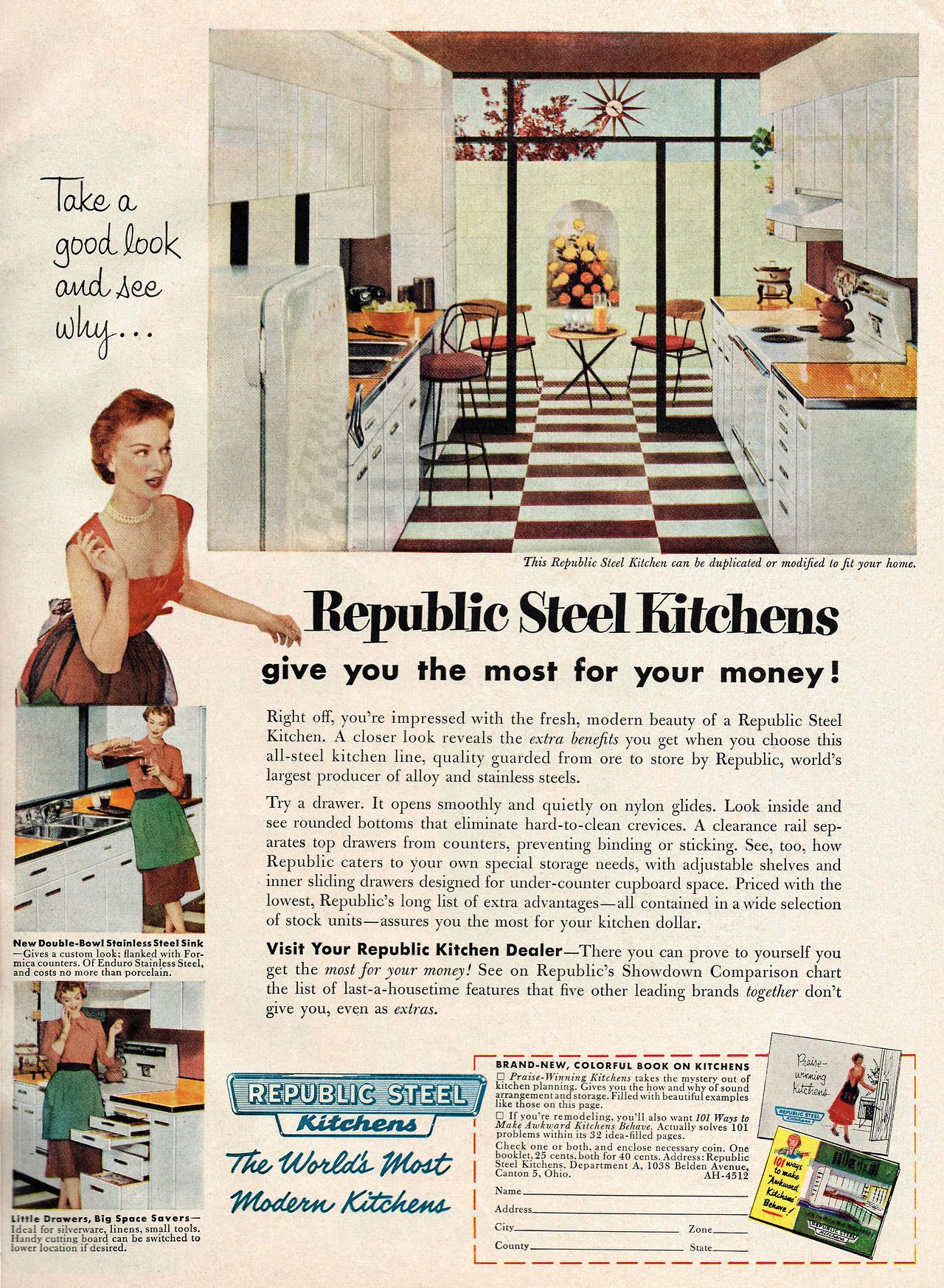 Republic Steel Kitchens 1954 Scanned From The American Home Magazine December 1954 Issue Steel Kitchen Vintage House Vintage Appliances