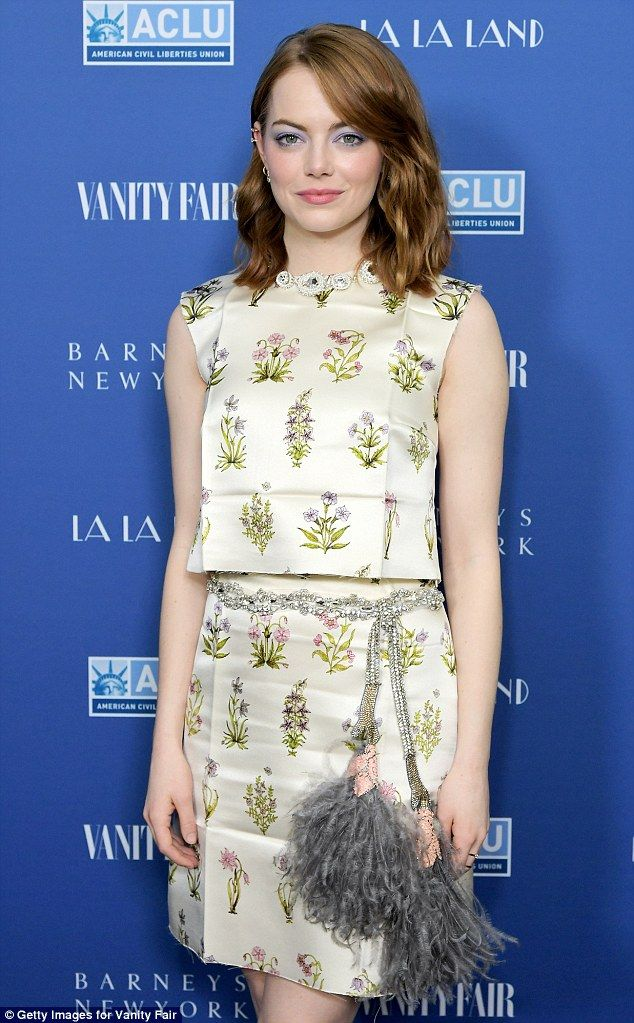 Feted: Oscar nominee Emma Stone was the toast of a dinner celebrating her musical movie La La Land hosted by Barneys New York and Vanity Fair on Wednesday night in Hollywood