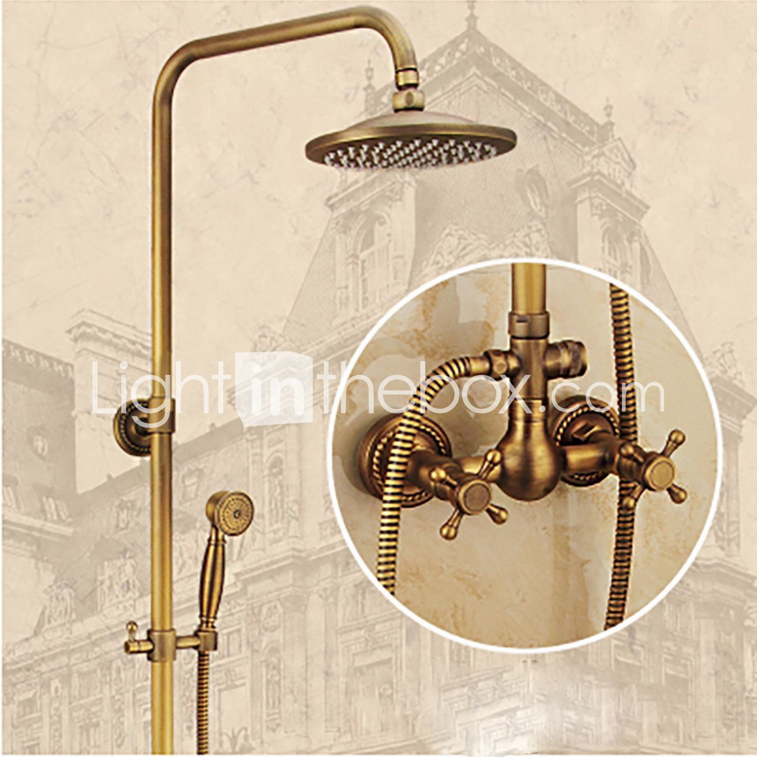 Shower Faucet - Antique Antique Brass Wall Mounted Ceramic Valve ...