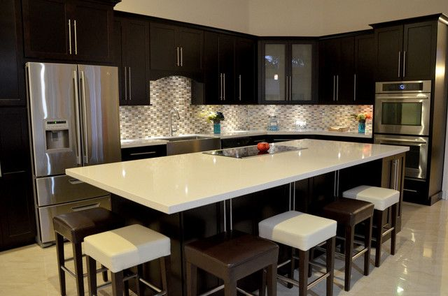 Fabulous Dark Island And Cozy Stools In The Modern Kitchen