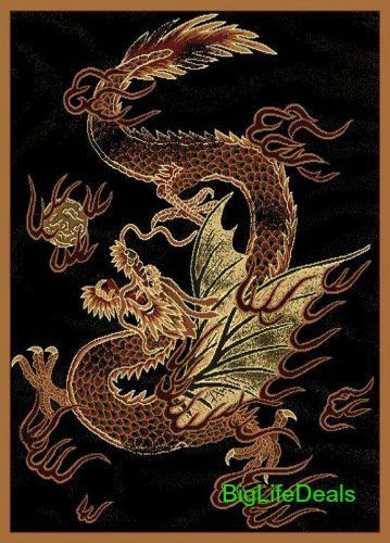 Area Rug 5x7 CHINESE Asian Black Dragon  Carpet Living Room Flooring Home Decor