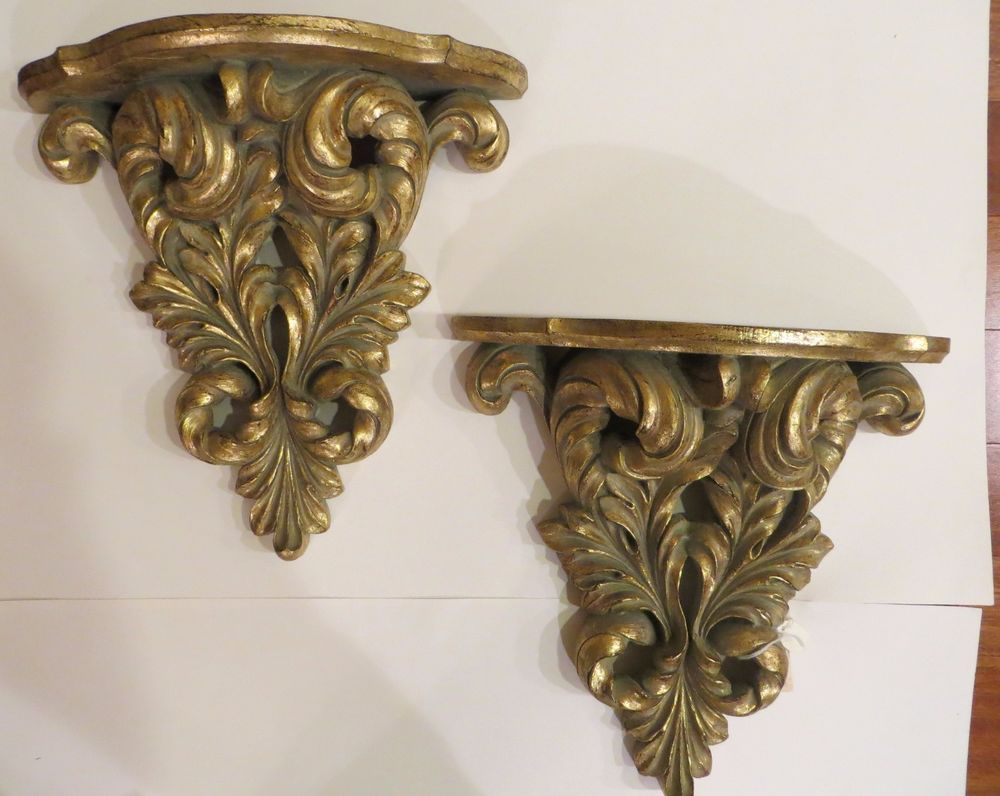 Pair Of Large Gold Decorative Wall Sconce Shelves New