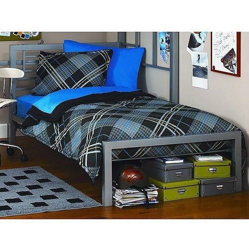 Silver Metal Twin Size Platform Bed Black Furniture Headboard ...