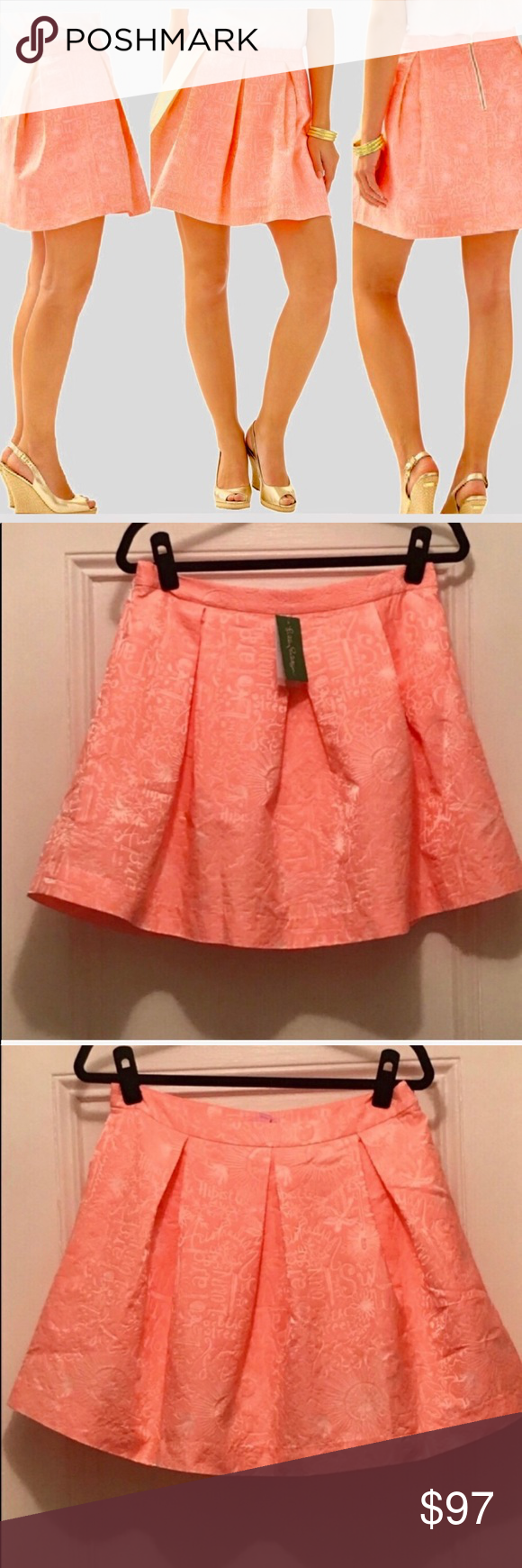 b4552a78af6 LP Peachy Pink Word Street Jacquard Harlie Skirt Lilly Pulitzer ...