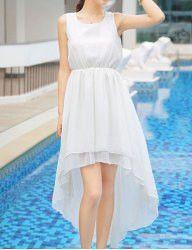 Elegant Women's Jewel Neck Sleeveless Solid Color High-Low Dress
